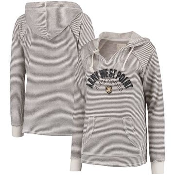 Army Black Knights Blue 84 Women's Striped French Terry V-Neck Hoodie - Cream