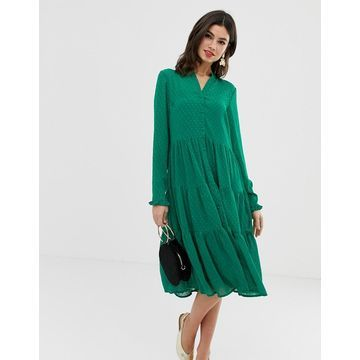 Y.A.S textured tiered midi dress in green