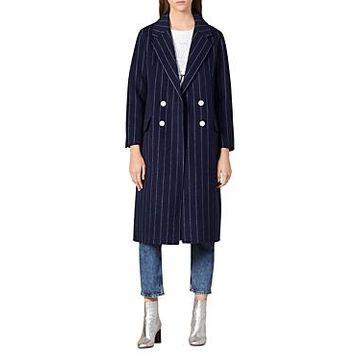 Sandro Thiny Striped Wool-Blend Coat