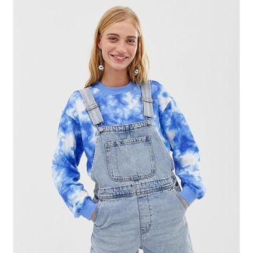 Monki short denim overalls in light blue wash