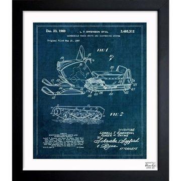 Oliver Gal 'Snowmobile 1969' Framed Blueprint Art