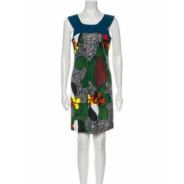 Printed Mini Dress Green