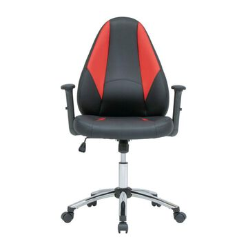 Offex Contoured Office Gamer Chair with Tilt and Height Adjustable Seat - Black and Racing Red PU