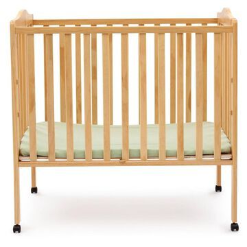 Delta Children Folding Portable Mini Baby Crib with 1.5'' Mattress, Greenguard Gold Certified - Natural