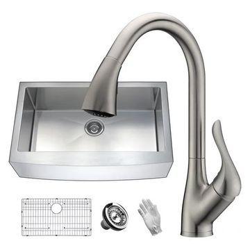 ANZZI Elysian Farmhouse 36 In. Single Bowl Kitchen Sink w/ Faucet In B