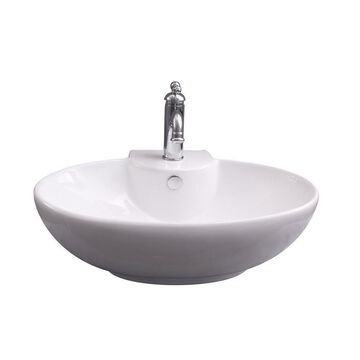 Barclay Boswell Wall-Hung Basin White Wall-Mount Oval Bathroom Sink with Overflow Drain (17.75-in x 23.5-in)