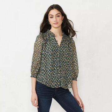 Women's LC Lauren Conrad Button Front Ruffle Blouse, Size: XS, Dark Blue