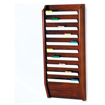 Wooden Mallet 10-Pocket Legal Size Wall File Holder, Mahogany