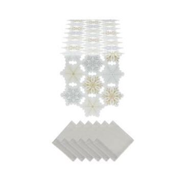 Design Imports Embroidery Snowflakes Table Runner and Napkin, Set of 6
