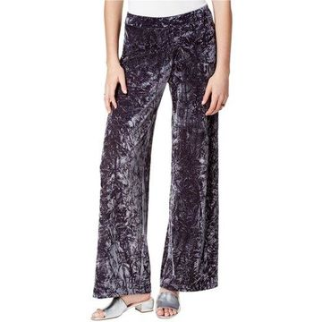 Kensie Womens Velvet Casual Wide Leg Pants