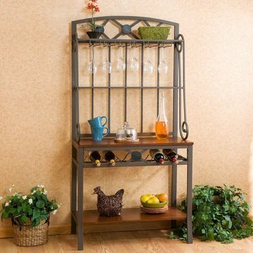 Southern Enterprises Decorative Bakers Rack with Wine Storage