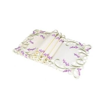 """Xia Home Fashions Lavender Lace Embroidered Cutwork Placemats, 13"""" x 19"""", Set of 4"""