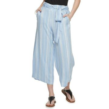 Juniors' Candie's Belted Cropped Wide Leg Pants