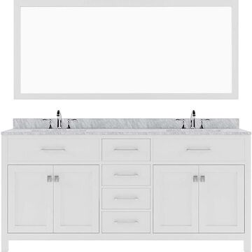 Virtu USA Caroline 72-in White Undermount Double Sink Bathroom Vanity with Italian Carrara White Marble Top (Mirror Included) | MD-2072-WMSQ-WH