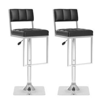 CorLiving Square Tufted Adjustable Leatherette Barstool (Set of 2) (Black)