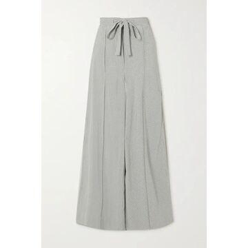 Loewe - Striped Silk Wide-leg Pants - White