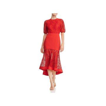 Keepsake Womens Evening Dress Lace Puff- Sleeve