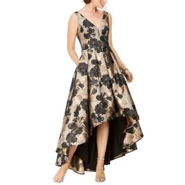 Eliza J Floral-Print High-Low Gown