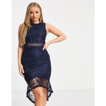 AX Paris lace peplum hem midi dress in navy