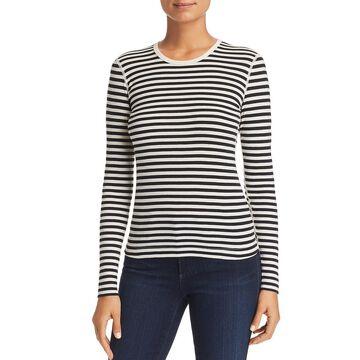 Three Dots Womens Mykonos Striped Crewneck T-Shirt