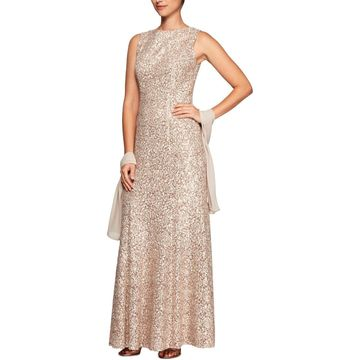 Alex Evenings Womens Lace Sleeveless Formal Dress