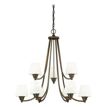 Vaxcel Lighting Calais 9 Light Two Tier Chandelier w/ Frosted Glass Sh