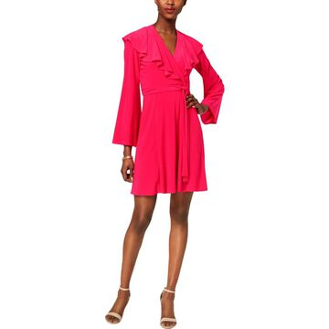 Taylor Womens Ruffled V-Neck Wrap Dress