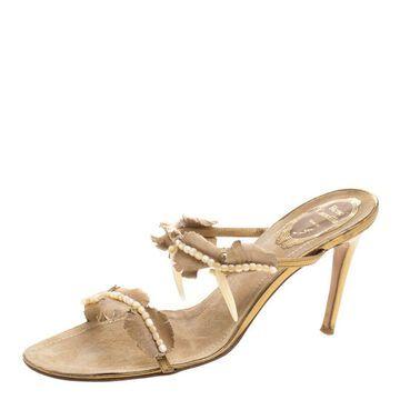 Rene Caovilla Beige Embellished Suede Slides Size 38.5
