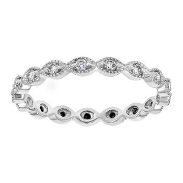 10k White Gold 1/4ct Diamond Vintage Eternity Band Ring by Beverly Hills Charm