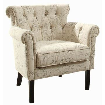 ''Brand New Homelegance 1193F2S Flared Arm Accent Chair, Vintage Print''