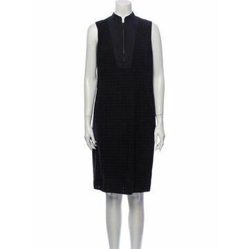 Mock Neck Knee-Length Dress Black