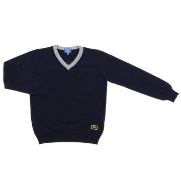 Fay V-neck Wool Pullover With Logo