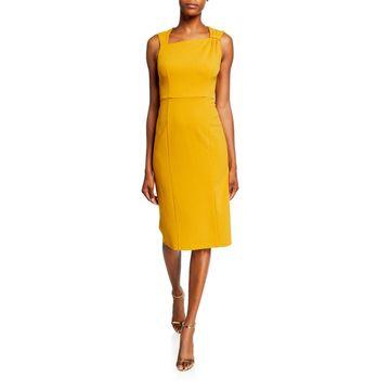 Asymmetric-Neck Sleeveless Sheath Dress