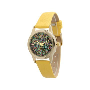 Olivia Pratt Womens Yellow Leather Strap Watch-40002yellow