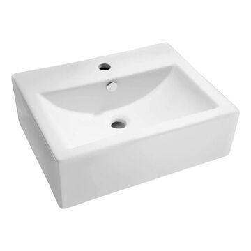 ANZZI Vitruvius White Vessel Rectangular Bathroom Sink with Overflow Drain (20.5-in x 16.3-in) | LS-AZ130