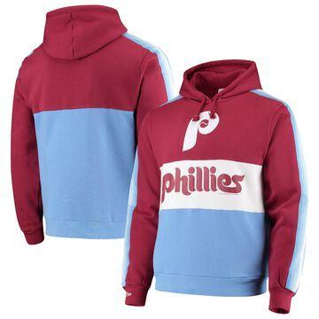 Mitchell & Ness Philadelphia Phillies Burgundy/Light Blue Leading Scorer Fleece Pullover Hoodie