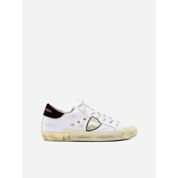 Philippe Model Temple Sneakers In Leather With Contrasting Velvet Heel Tab