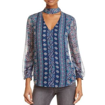 Ella Moss Womens Silk Printed Choker Top