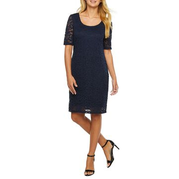 Ronni Nicole Short Sleeve Floral Lace Shift Dress