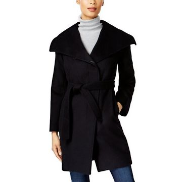 Jones New York Asymmetrical Belted Wool Blend Coat Black