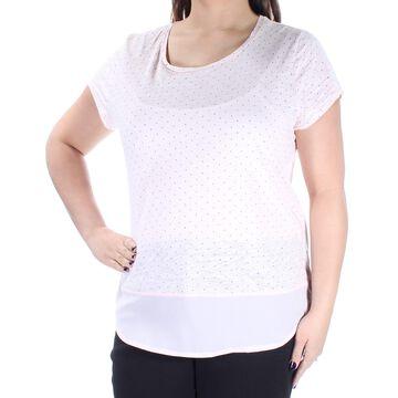 MAISON JULES Womens Pink Polka Dot Short Sleeve Jewel Neck T-Shirt Top Size: XL