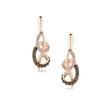 Chocolatier Vanilla Diamonds, Chocolate Diamonds and 14K Strawberry Gold Earrings