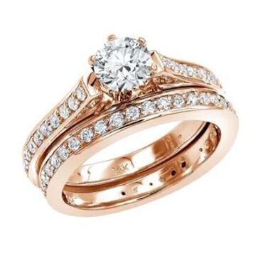 14K Gold Round Diamond Engagement Ring and Wedding Band Set 1.75ctw by Luxurman
