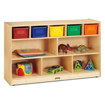 Jonti-Craft Low Combo Mobile Storage Unit, With Colored Bins