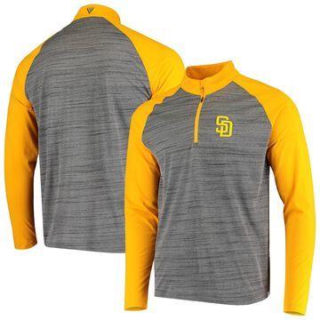 Levelwear San Diego Padres Gray/Gold Vandal Raglan Quarter-Zip Pullover Jacket