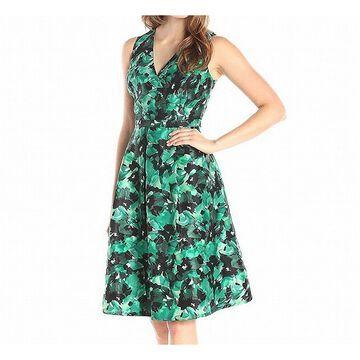 Kasper Womens Dress Green Size 14 Sheath Surplice Floral Printed