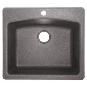 Franke Ellipse Drop-In 33-in x 22-in Shadow Gray Single Bowl 1-Hole Kitchen Sink | ELG61091-SHG
