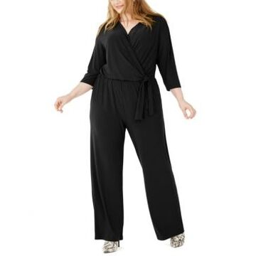 Ny Collection Plus Size Side-Tie Jumpsuit
