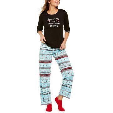 Fair Isle Knit Top & Pants Pajamas Set