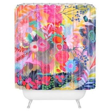 Floral Tropical Shower Curtain Pink - Deny Designs